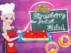 Elsa Cooking Strawberry Pretzel Salad