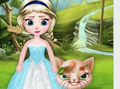 Little Elsa Save Stray Cat