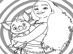 Moana And Pig Coloring