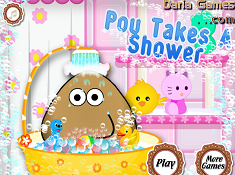 Pou Takes Shower