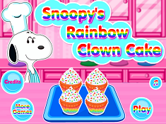 Snoopy Rainbow Clown Cake