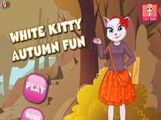White Kitty Autumn Fun