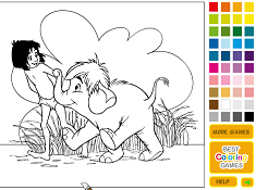 Mowgli and Hathi Junior Coloring