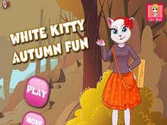White Kitty Autumn Fun